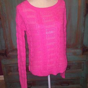 Allen B Hot Pink Peek-A-Boo Sweater sz L